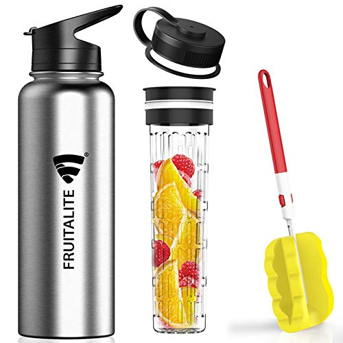 Fruitalite Thermos/Stainless Steel Fruit Infuser Water Bottle- 1.2 Litre with 2 Lids, Tritan...