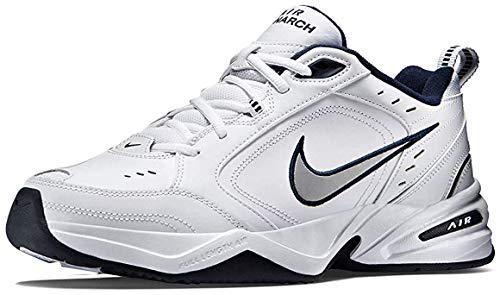 Nike Herren Air Monarch IV Fitnessschuhe, Weiß Midnight Navy Metallic Silver, 41 EU