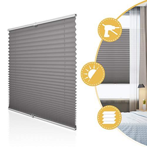 Deswell Plissee Rollo Jalousie ohne Bohren Klemmfix für Fenster & Tür Anthrazit 50 x 100 cm, Plisseerollo Stoff Sonnenschutz leicht zu montieren & Verspannt