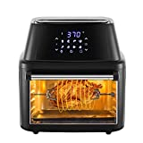 Soing Air Fryer Oven Family Size 17QT 8 in 1 Cooking Features,1800-Watt Programmable for Air Frying,Roasting,Reheating & Dehydrating with 8 Pre-Set Recipe,Soing Professional Cookbook Included,Black