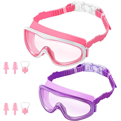 KNGUVTH Kids Swim Goggles, Pack of 2 No Leaking Swimming Goggles Anti-Fog UV Protection Crystal Clear Wide Vision Swim Glasses with Nose Clips + Ear Plugs for Children Early Teens (Pink & Purple)