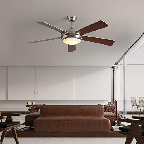 NEWSEE deckenventilator mit beleuchtung und fernbedienung leise 132cm Dunkle Holzmaserung dimmbarer LED Beleuchtung Einzelleuchte und fünf Flügeln inklusive