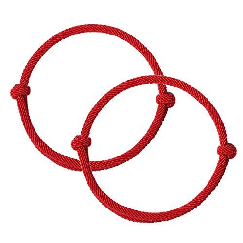Yuyan, 2 braccialetti dell'amicizia con cordino rosso del destino, protezione della cabala, braccialetti semplici da abbinare per amante, donne e uomini