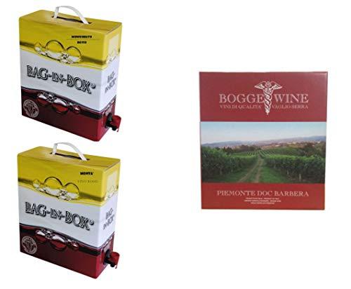 Boggero Bogge Wine - Tris vini rossi Bag in box 5 L - Monferrato Rosso Nebbiolo - Piemonte Barbera - Dolcetto'Mont'