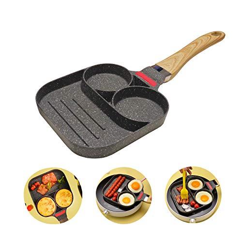 Padella per frittata padella per pancake, padella per uova da colazione, padella antiaderente a 2 fori, manico in legno(universale)