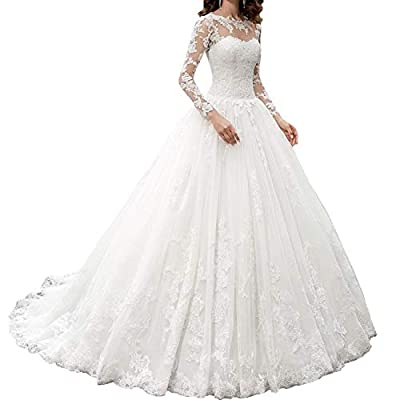 Material:Tulle wedding dresses for bride 2021 made of quality lace appliques This white/ivory lace appliques wedding dress features long illusion sleeves, stunning sweetheart bodice, 100% full lined and built in bra, with the lace up back design conn...