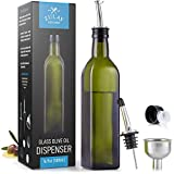 Zulay (17oz) Olive Oil Dispenser Bottle For Kitchen - Glass Olive Oil Bottle With 2 Spouts, 2 Removable Corks, 2 Caps, & 1 Funnel - Oil Bottle For Kitchen & Storing Liquids (Green Bottle)