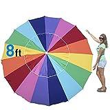EasyGo 8 Foot HEAVY DUTY HIGH WIND Beach Umbrella - Giant 8' Beach Umbrella with Sand Anchor & Carrying Bag -Sturdy Pole