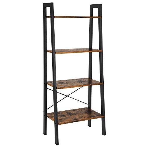 VASAGLE Standregal, Bücherregale, 4 Ebenen Leiter Regal, Stabiles Metall für den Rahmen, einfache Montage, für Wohnzimmer, Schlafzimmer, Küche, Vintage LLS44X