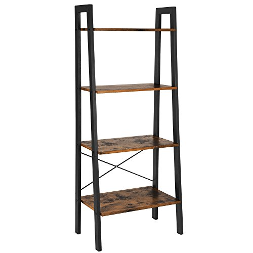 VASAGLE ALINRU Ladder Shelf, 4-Tier Bookshelf, Storage Rack Shelves, Bathroom, Living Room, Industrial Accent...