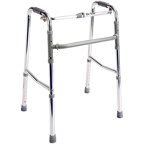 Dr Trust (USA) Portable Aluminium Height Adjustable Foldable Walker for Adults Patients and Old Age...