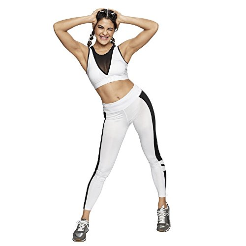 Just F by Jacqueline Fernandez Women's Non-Wired Sports Bra (16003_White_X-Large)