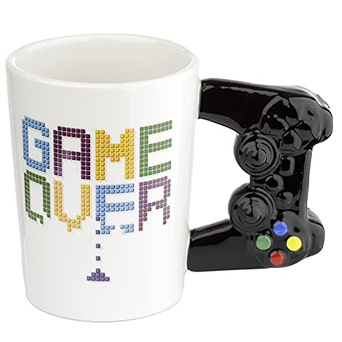 Puckator Controller Tasse Game Over mit 3D Controller am Henkel weiß, Bedruckt, 100% Keramik, in...