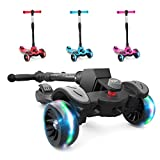 6KU Kids Kick Scooter with Adjustable Height, Lean to Steer, Flashing Wheels for Children 3-8 Years...
