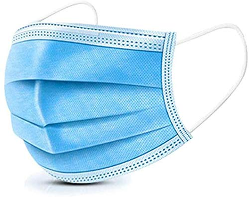 50-Piece Industrial Medical Safety Breathable Mask, Blue Disposable Surgical Mask, Respirator with Earmuffs