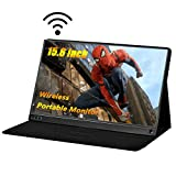 Wireless Portable Monitor - LHMZNIY 15.6 Inch Computer Display 1920×1080 Full HD IPS Screen WiFi Gaming Monitor with Type-C Mini HDMI for Laptop PC MAC Phone Xbox PS4