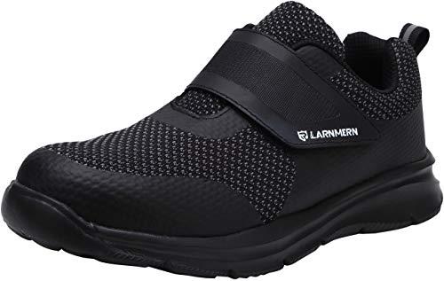 Zapatillas de Seguridad Hombre,LM180121 SBP Zapatos de Trabajo Mujer con Punta de Acero Ultra Liviano Reflectivo Transpirable 44 EU,Triple Negro