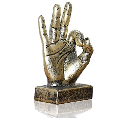 Lependor Golden Polyresin Hand Gesture Desk Statues Finger Sculpture Decor - Golden Ok Fingers