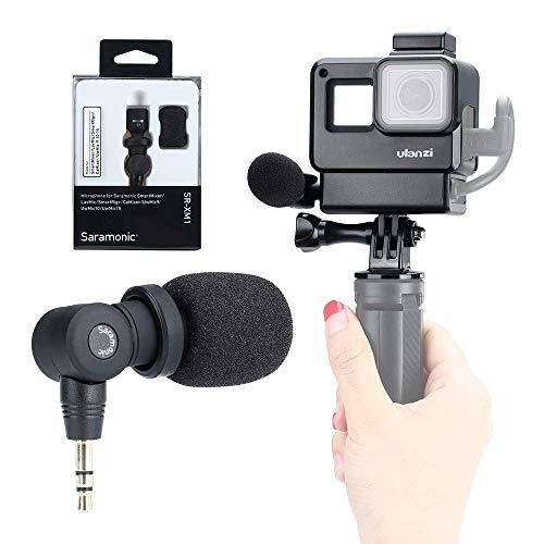 Configurazione Vlog per GoPro - Saramonic SR-XM1 Microfono per registrazione video wireless da 3,5 mm + Telaio custodia protettiva ULANZI per GoPro Hero 7 6 5 Action Cameras