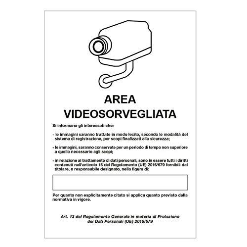 Cartello alluminio 20x30cm 'Area videosorveglianza con registrazion' rif.GDPR' CARTELLI SEGNALATORI