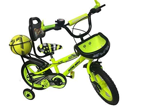 """Rising India 14"""" Sports Kids Bicycle for 3-5 Years with Full Chain Cover and Football Semi Assembled (Green)"""