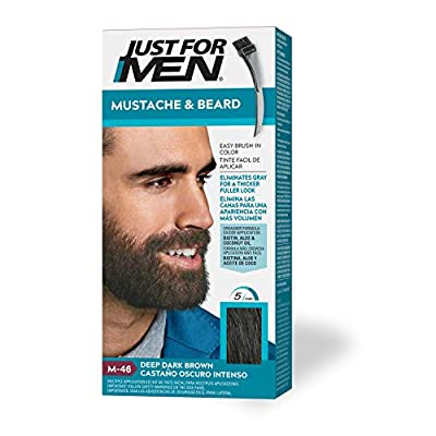 New look, same great results! Just For Men Mustache & Beard, Deep Dark Brown, M-46, is beard coloring that makes getting rid of gray facial hair easy. Unlike other dyes, this beard color is formulated specifically for coarser facial hair. Eliminates ...