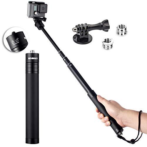 Homeet 19-73cm Bastone Selfie Monopiede Telescopico Asta Allungabile Lega di Alluminio con 1/4' Filettatura per Flash LED, Stabilizzatore FEIYU G5/ G6/ WG2/ WG2X/ SPG, Zhiyun Smooth 4