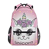 Back to School Unicorn Backpack for Girls Computer Notebooks Backpack for 3th 4th 5th Grade Students Travel Daypack