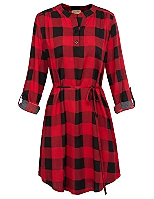 Features: Classical plaid and never Outdated, Button up V Neck, Roll-up Sleeve Cotton Blend, Casual Street wear, Breezy and Fashionable. Suitable for Spring, Autumn and Summer Wear it alone or throw a basic cardigan over top. Can be worn with legging...