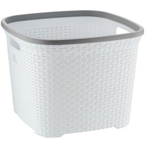 Kela Wäschekorb Rio 40L aus Kunststoff in weiß/grau, Plastik, 43.5 x 43.5 x 33.5 cm