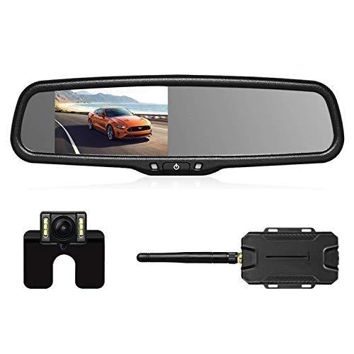 AUTO-VOX Caméra de Recul Sans Fil - Caméra de Voiture avec Ecran Tactile Full HD, Etanche IP68 avec 6 LEDs & Moniteur Rétroviseur & Vision Angle 170° Super Vision Nocturne