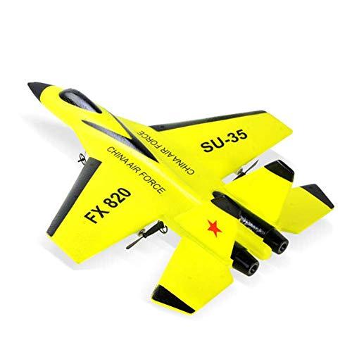 TXYFYP Mini Drone RC Lotta Fisso Ala Aeroplano RC FX-820 2.4G Telecomando Aereo Modello RC Drone Elicottero Quadrirotore Jet Fighter per Bambini e Principianti - Giallo, 1pc