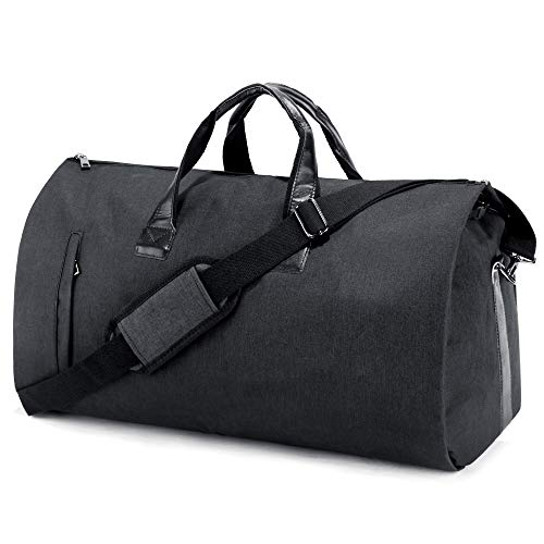 SUVOM Suit Travel Bag Carry On Garment Bag with Shoes Compartment Duffle Bag Weekend Bag Flight Bag for Travel & Business Trips With Shoulder Strap, Black