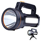 Eornmor High Power LED Rechargeable Spotlight Handheld 6000 Lumen Super Bright Waterproof Large LED Flashlight High Lumen Portable Searchlight Floodlight (Black)