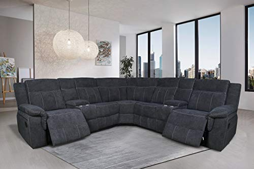 Manual Reclining Sectional Sofa Fabric Upholstery Sofa Set with Foam Filled Seat and Back, Solid Wood Frame