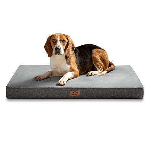 Bedsure Hundekissen Orthopädisch Memory Foam Hundematratze für Mittlere Hunde, Hundebett mit Ergonomisch Design,Waschbar rutschfest Größe in 70x45 cm M