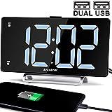 9' Digital Alarm Clock Large LED Display Dual Alarm with USB Charger Port for Bedrooms Bedside Desk Clocks Big Number Simple Seniors Clock