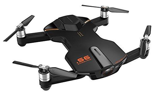 Wingsland VD-697011253018 Selfie Drone S6 con Fotocamera, Video 4K, Nero
