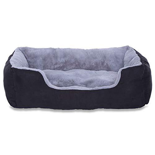 Hundebett, Hundekissen, Hundekörbchen mit Wendekissen, Größe L, Farbe grau/schwarz