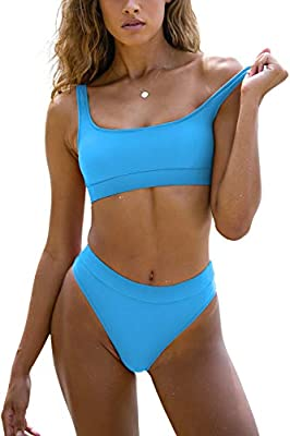 ✅ 【Sports swimsuits for women two piece crop top bikini set with SIMPLE AND CLASSY Style】This sports bra swimsuit for women two piece is very simple,elegant and classy.Padded swimsuit tops for women like you are wearing a sports bra bikini,feeling go...