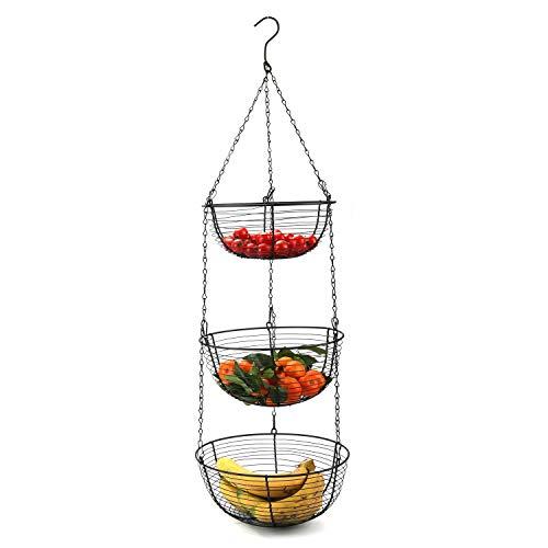 Tebery Hängekorb mit 3 Ebenen und Metallhaken für die Küche, robust, Draht, Obst-Organizer mit Haken für die Decke.