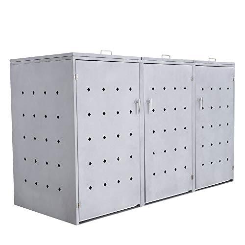 Zelsius Mülltonnenbox Rhombus Cement für 3 Mülltonnen je 120 und/oder 240 Liter I Mülltonnenverkleidung mit 3 Klappdeckel I Metall Müllbox I abschließbar