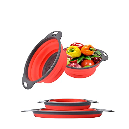 Collapsible colander, 2 foldable kits, DLD Food Grade Silicone...