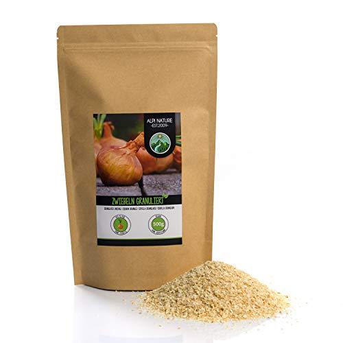 Zwiebel Granulat (500g), Zwiebeln granuliert, Zwiebel gemahlen, 100% naturrein aus schonend getrockneten Zwiebeln, natürlich ohne Zusätze, vegan, Zwiebelgranulat
