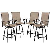 Sophia & William Swivel Bar Stool 4 Pcs Patio Bar Chairs All Weather (Breathable textilene)