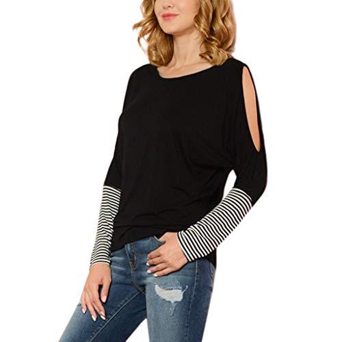 Luckycat Blusas para Mujer OtoñO Primavera Mejor Venta De Moda Casual De Manga Larga Color Block Stripe Button Camisetas Tops
