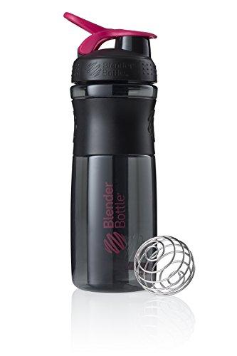 BlenderBottle Sportmixer Tritan Trinkflasche mit BlenderBall, geeignet als Protein Shaker, Eiweißshaker, Wasserflasche oder für Fitness Shakes, BPA frei, skaliert bis 760 ml, 820 ml, pink / schwarz