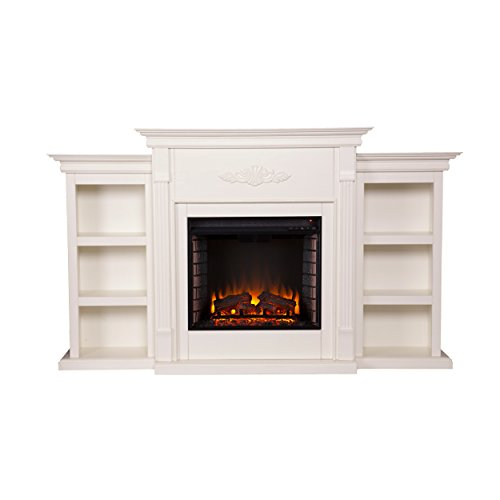 SEI Furniture Tennyson Electric Bookcases Fireplace, Ivory