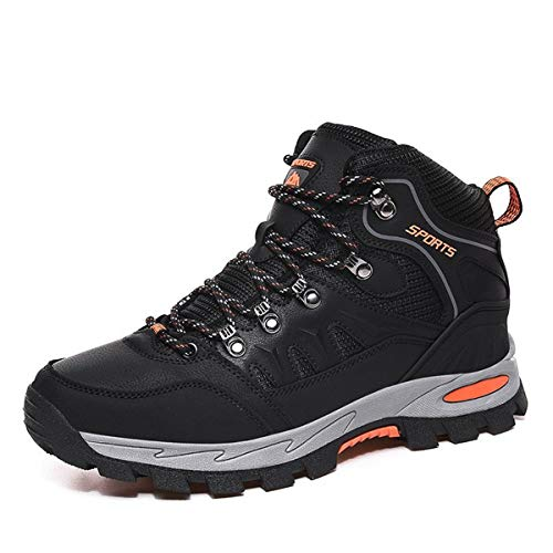 FOGOIN - Botas de senderismo para hombre y mujer, impermeables, zapatos de nieve, Negro (Negro ), 42 EU