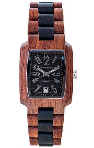TENSE Holzuhr Herren Katalox Leadwood Ø 35 mm Armbanduhr Timber analog Quarz J8102RD-BSIL